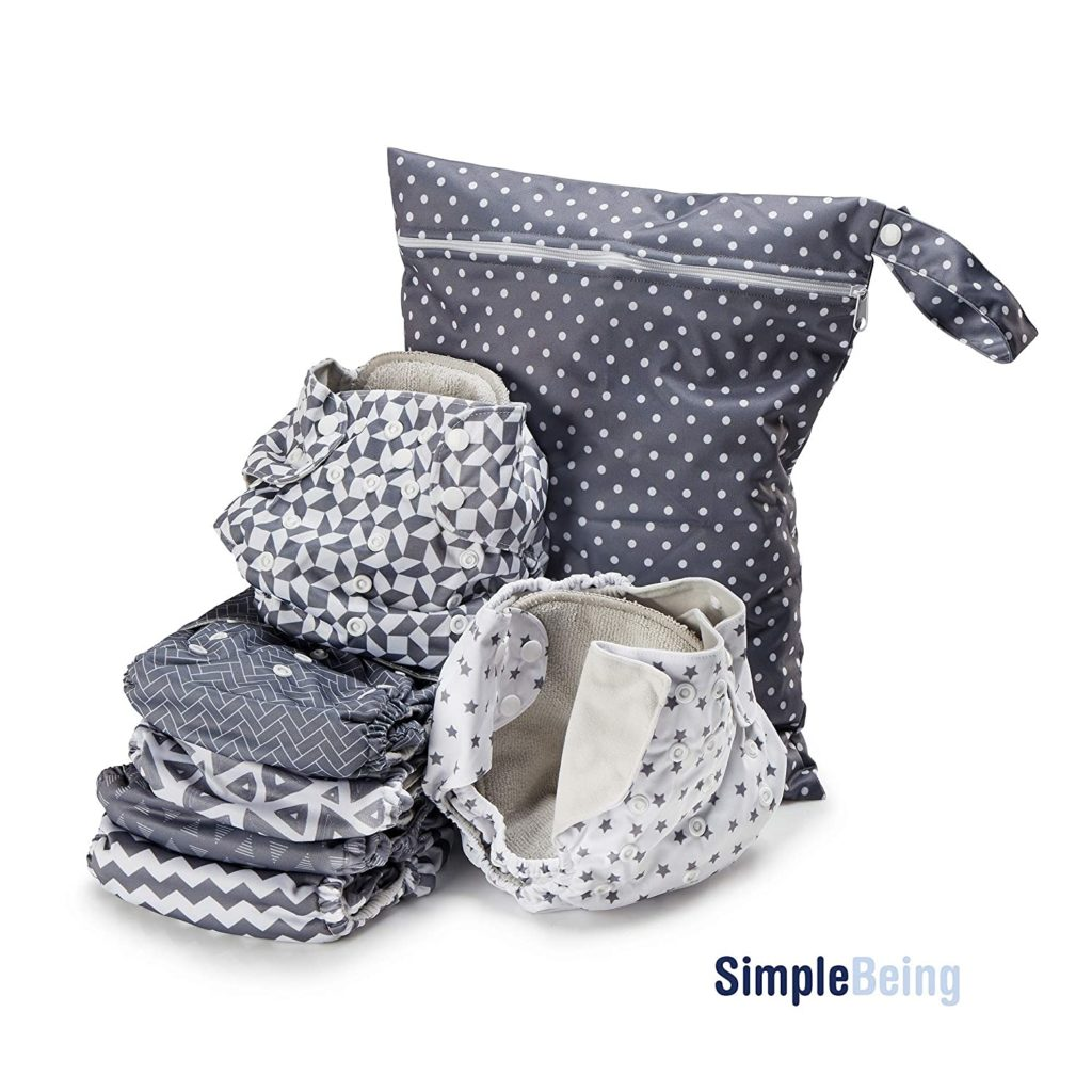 Simple Being Reusable Cloth Diapers, Double Gusset, One Size Adjustable, Washable Soft Absorbent, Waterproof Cover, Eco-Friendly Unisex Baby Girl Boy, with six 4-layers microfiber inserts (Geometrics)