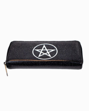 Motley Crue Pentagram Black Glitter Coin Purse Wallet