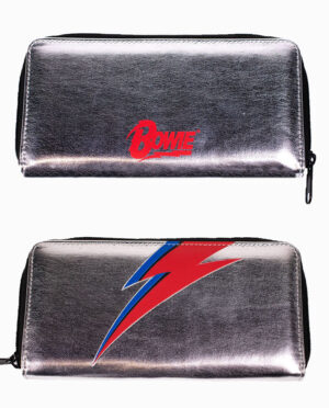 David Bowie Metallic Silver Coin Purse Wallet