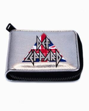 Def Leppard Metallic Silver Zipper Wallet