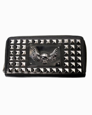 Skull and Wings Studded Black Coin Purse Wallet