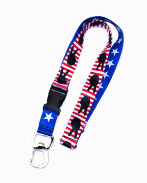Peace Hand Symbol and Stars Red White and Blue Lanyard