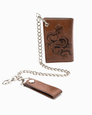 Brown Dragon Embossed Trifold Chain Wallet