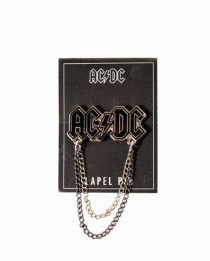 AC/DC Silver Chain Logo Lapel Pin