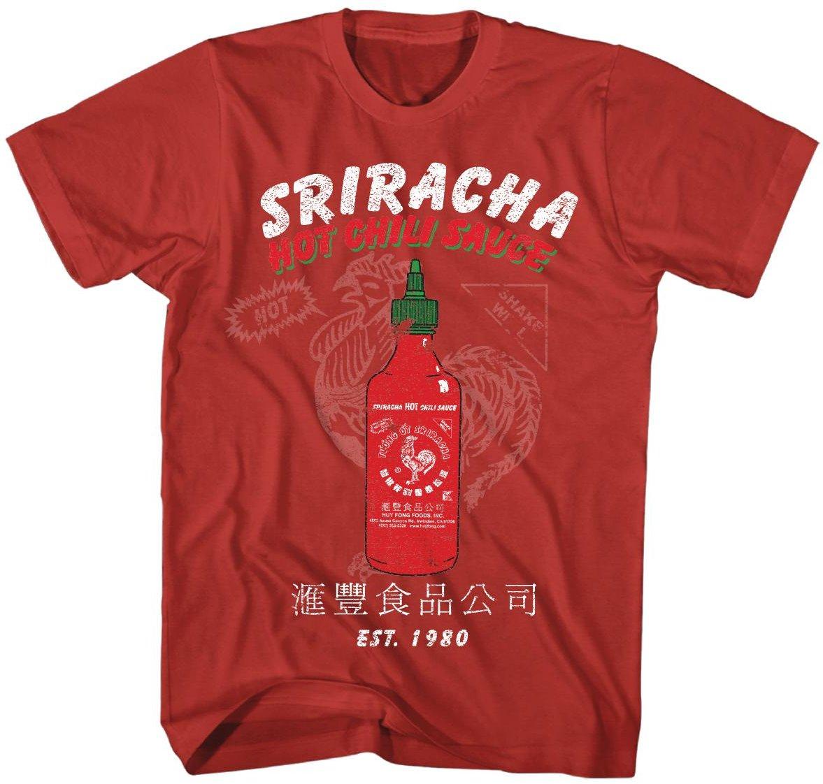 SRIRACHA / SOFT HAND SCREEN PRINT OVER RED / SHORT SLEEVE TEE