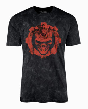 TS780447GOW-Gears Distressed Black Mineral Wash Graphic Tee