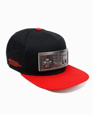 Nintendo NES Controller Metal Plate Black and Red Snapback