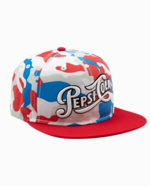 Pepsi Red, Blue, and White Camo 6 Panel Snapback Hat