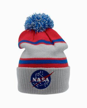 NASA Embroidered Cuff Pom Pom Beanie Main Image