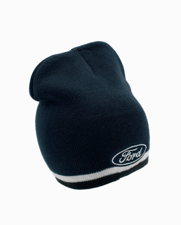 Ford Navy and White Striped Knit Beanie