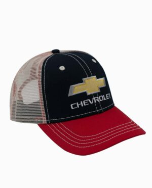 Chevrolet Navy, Red, and Tan Mesh Back Trucker Hat