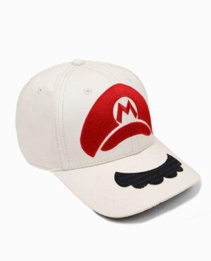 Nintendo Super Mario Mustache and Hat Off-White Adjustable Snapback Cap