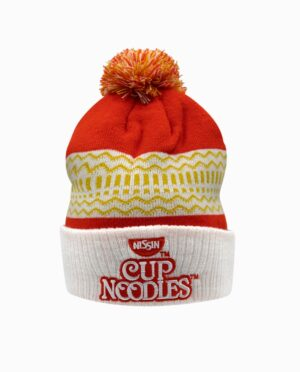 Cup Noodles Embroidered Red Pom Knit Beanie