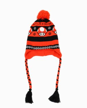 Nintendo Orange and Black Super Mario Mushroom Laplander Beanie