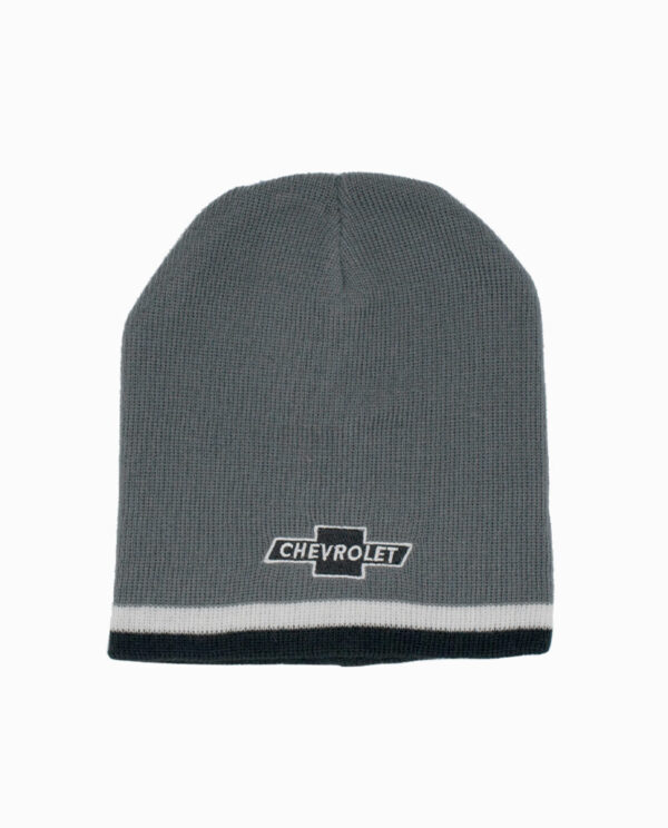 Chevy Grey and Black Striped Knit Beanie