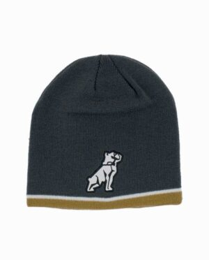 Mack Truck Bulldog Charcoal White and Gold Knit Beanie
