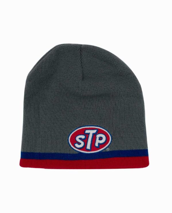 STP Grey Blue and Red Striped Knit Beanie