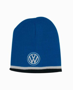 VW Volkswagen Blue White and Black Striped Knit Beanie