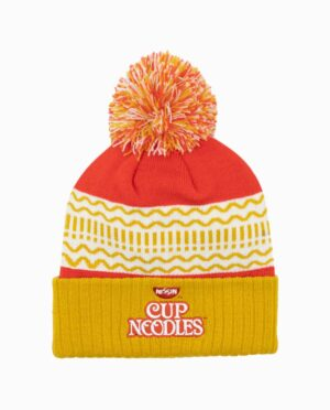 KC14066CONUNS-cup-noodles-red-gold-pom-beanie-flat