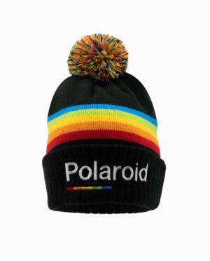 Polaroid Jacquard Spectrum Black Knit Beanie With Pom