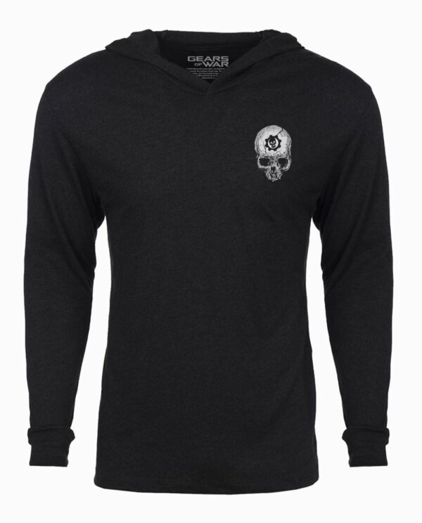 Gears of War Lancer & Skull Metal Long Sleeve Hooded T-Shirt Main Image