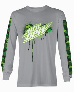 Mountain Dew Grey Long Sleeve Shirt With Green Camo Print