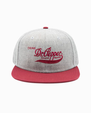 Dr. Pepper Grey and Red 6 Panel Snapback Hat
