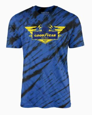 Goodyear Blue and Black Tie Dye T-Shirt