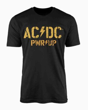 AC/DC Black and Yellow Distressed Print T-Shirt