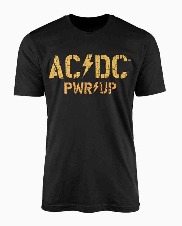 AC/DC Black and Yellow Distressed Print T-Shirt