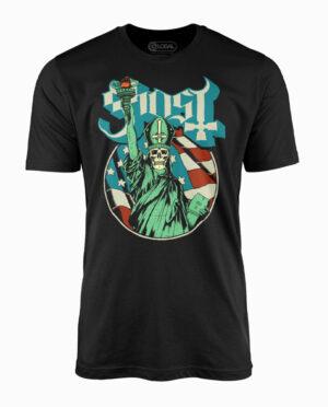 Ghost Blue Statue Black T-Shirt