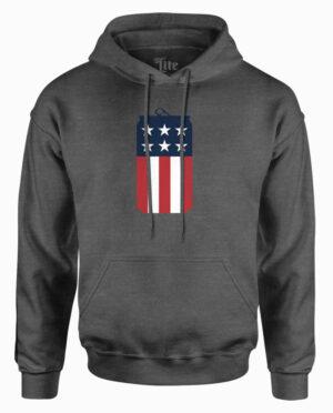 Miller Lite American Flag Can Charcoal Heather Hoodie