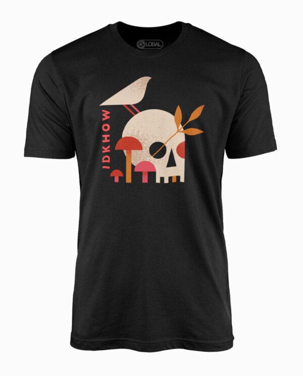 IDKHow Mushroom Skull Black T-Shirt