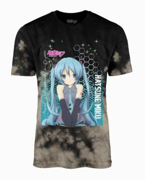 Hatsune Miku Black and Grey Tie Dye Hex Pattern T-Shirt